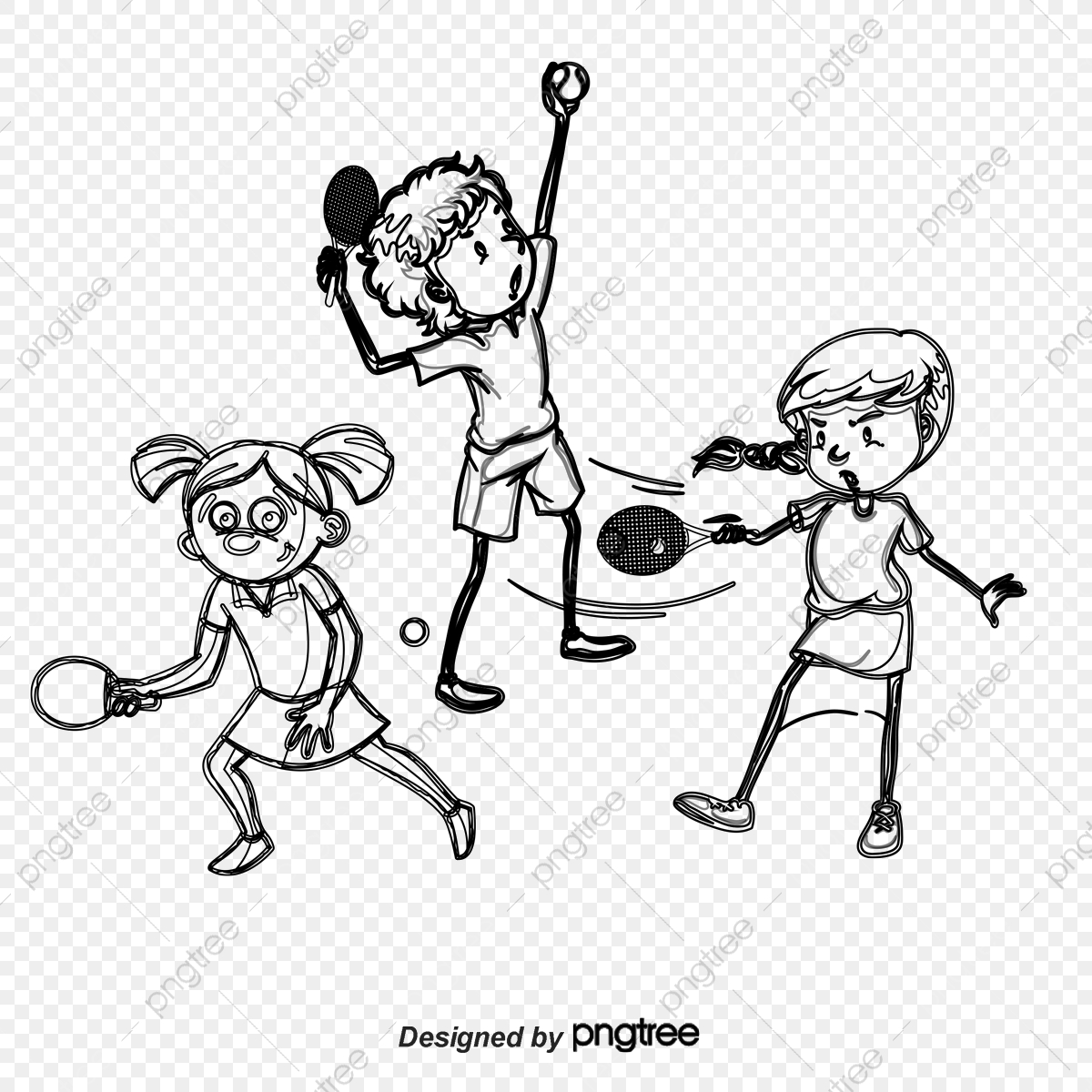 Vector Table Tennis Players, Table Vector, Character, Cartoon