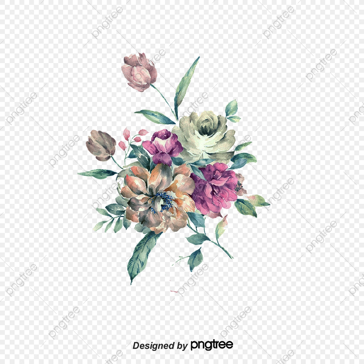 Vector Watercolor Flower Watercolor Vector Flower Png And