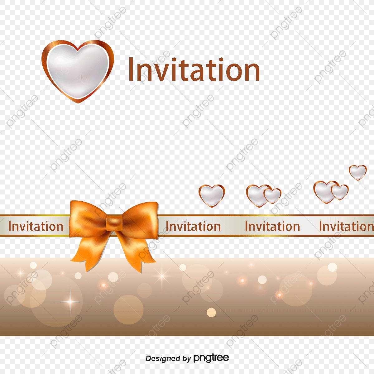 White Heart Shaped Wedding Invitations Templates Bow