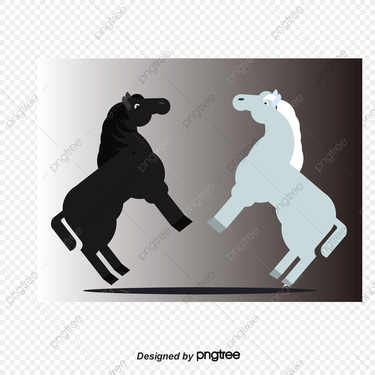 White Horse And Black Horse Cartoon Horse Horses Steed Png Transparent Clipart Image And Psd File For Free Download