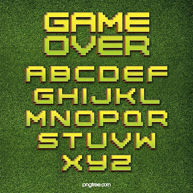 Modern Fashion Color Gradient Game Pixel Alphabet Art Font