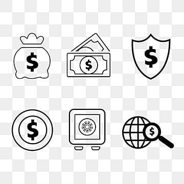 Black Simple Financial Line Icon, Savings, Global, Dollar PNG and PSD