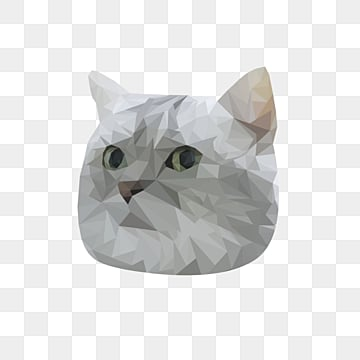 creative polygon animal gradual cat head and cat face, Animal, Polygonal Animals, Cat PNG and PSD