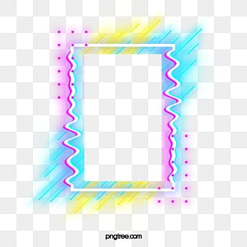 neon border frame with illumination colour failure, Holographic, Glitch, Lamp Effect PNG and PSD