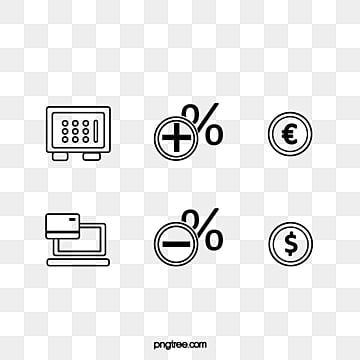 simple flat hand drawn black line financial icon, Icon, Flat, Hand Painted PNG and PSD