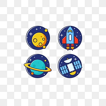 space series label combination, Cartoon, Satellite, Lovely PNG and PSD
