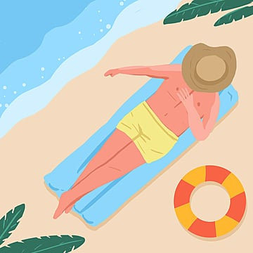 flattened summer holiday sports illustration element psd format in small fresh color cartoon, Summer, Summer Vacation, Summer Illustrations PNG and PSD