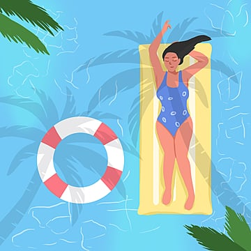 flattened summer holiday sports swimming illustration element psd format with small fresh color cartoon, Summer Vacation, Summer Illustrations, Summer Sports PNG and PSD