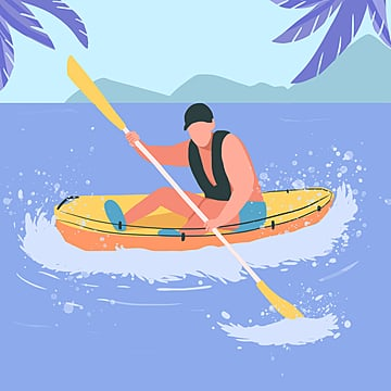 small fresh color cartoon flattened summer holiday marine sports canoeing illustration element psd format, Summer Vacation, Summer Illustrations, Summer Travel PNG and PSD