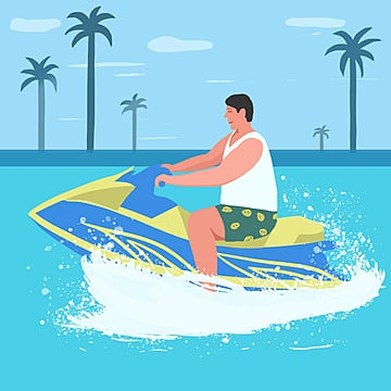 small fresh color cartoon flattened summer holiday sea sports motorcycle surfing illustration element psd format, Summer Vacation, Summer Travel, Summer Sports PNG and PSD