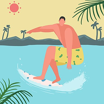 small fresh color cartoon flattened summer holiday sea sports surfing illustration element psd format, Surfing, Summer Travel, Summer Sports PNG and PSD