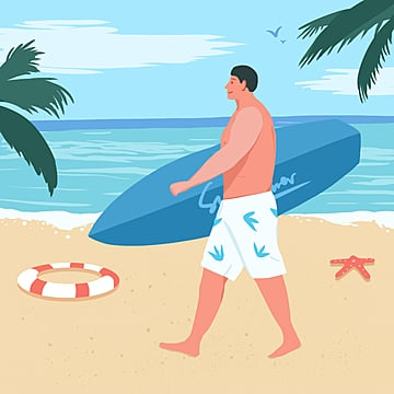 small fresh color cartoon flattening summer holiday beach sports surfing illustration element psd format, Surfing, Summer Vacation, Summer Travel PNG and PSD