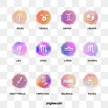 twelve constellation symbols of the colorful water powder nebula, Element, Twelve Constellations, Hand Painted PNG and PSD
