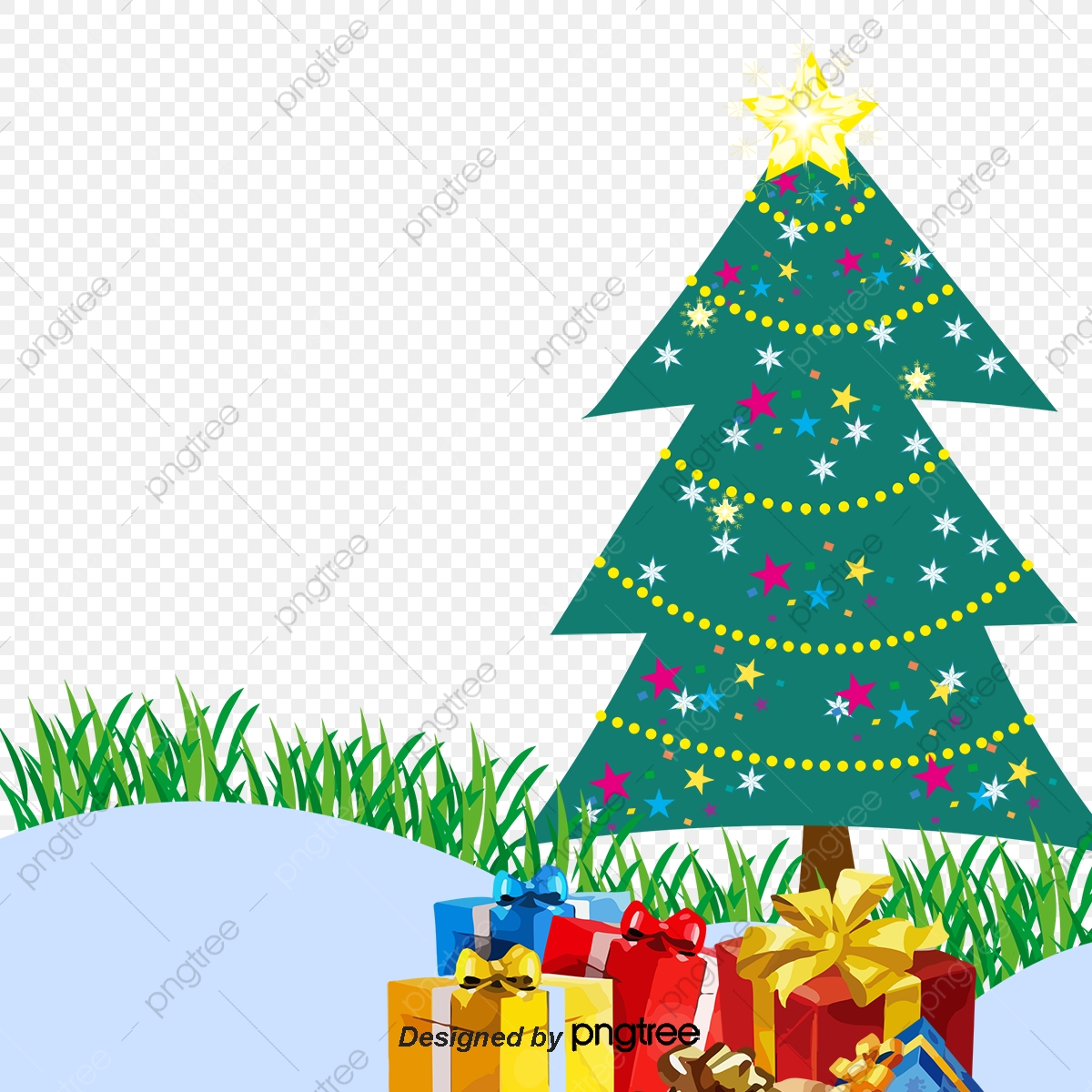 Christmas Gift Clipart.Background Christmas Gift Boxes Under The Christmas Tree