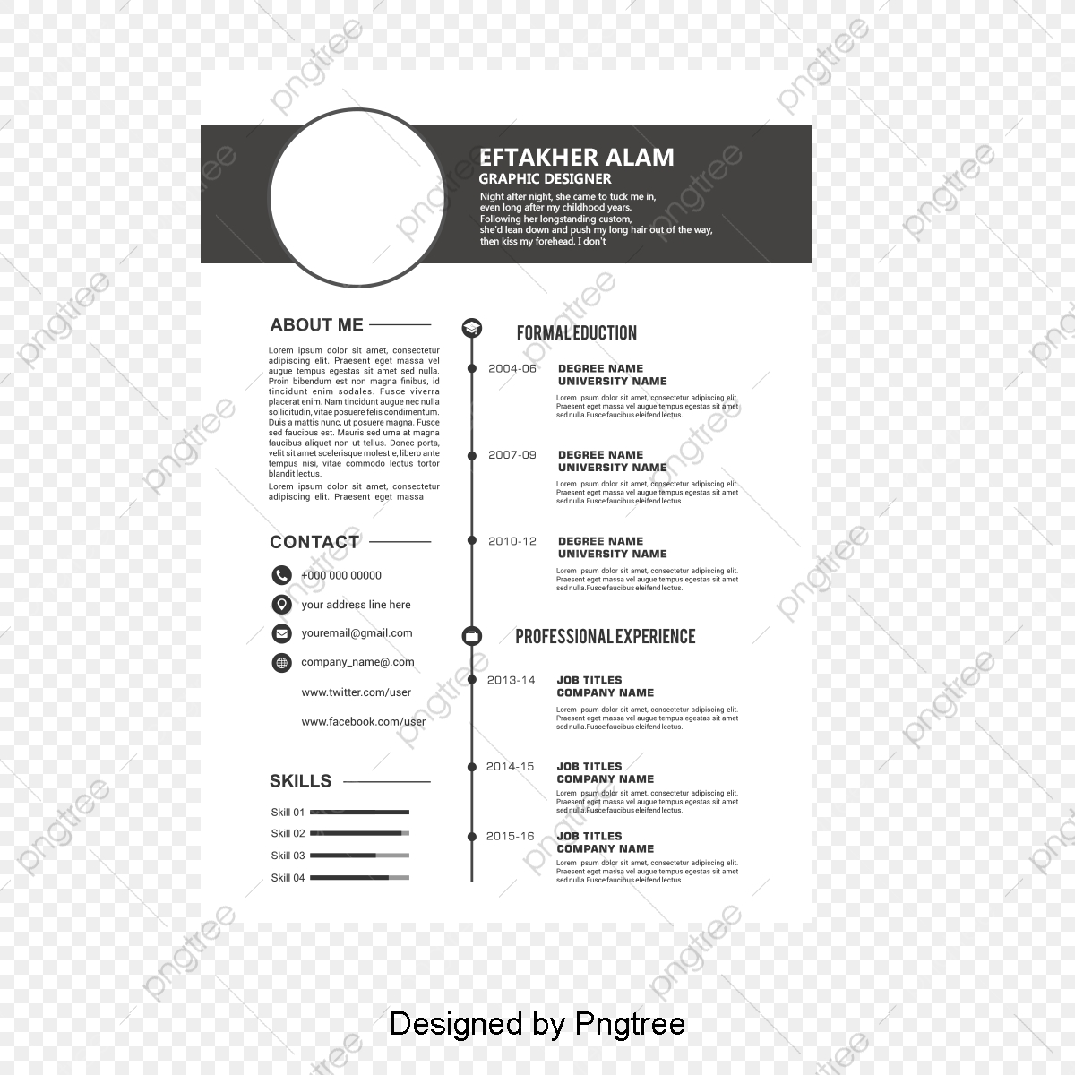 Black Header Resume Templates Curriculum Vitae Stencil Black Theme Png Transparent Clipart Image And Psd File For Free Download