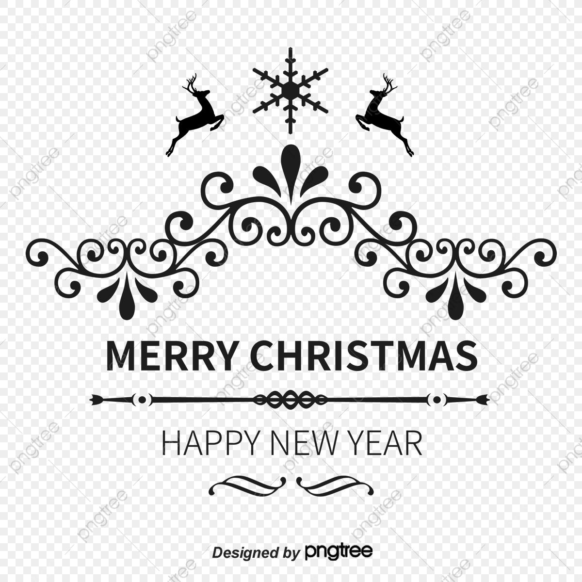 Merry Christmas Word Art Png.Black Merry Christmas Wordart Title Box Snowflake Deer