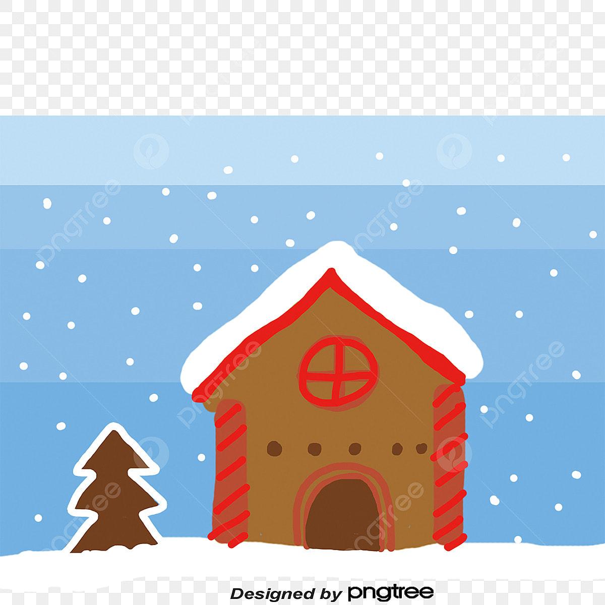 Christmas Gingerbread House Cartoon.Cartoon Christmas Gingerbread House Vector Material
