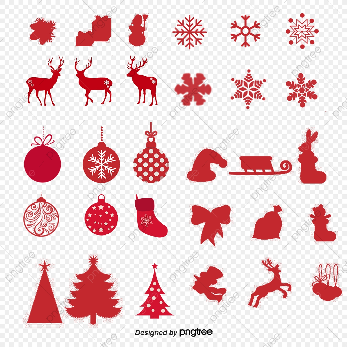 Christmas Silhouette.Christmas Silhouette Collection Deer Red Christmas Tree