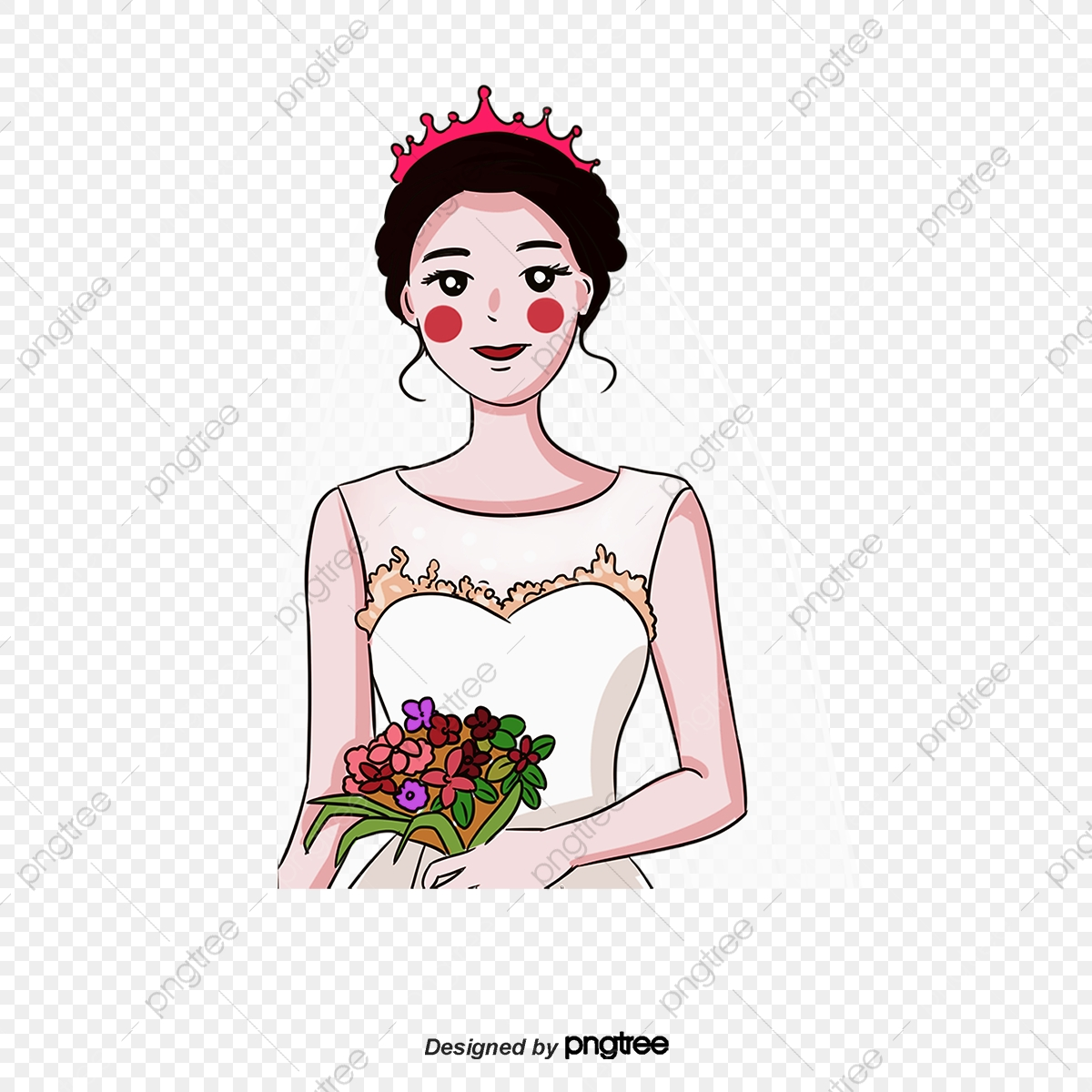 Vector Cartoon Bride Cartoon Vector Vector Animation Png