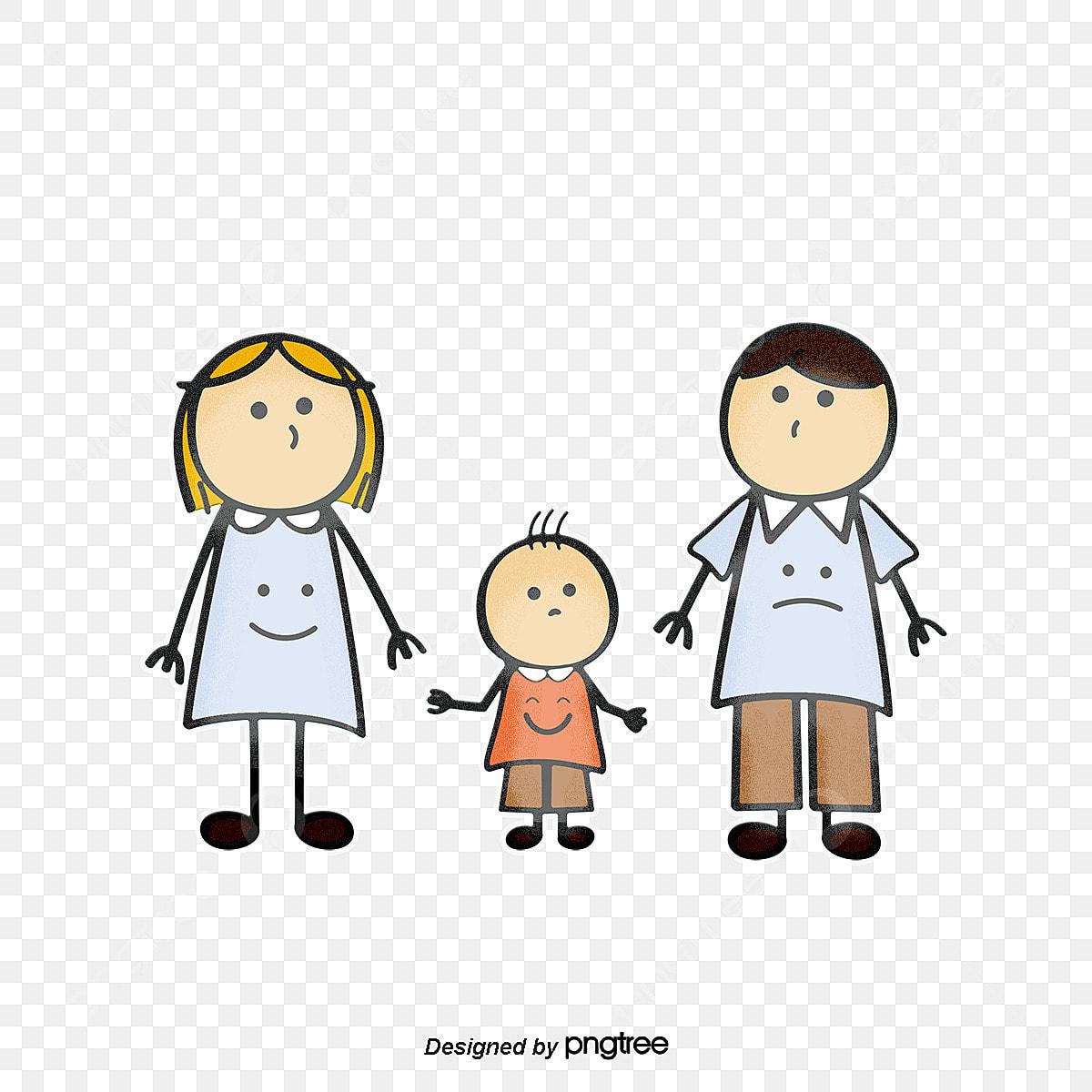 Un Cuatro Familia Feliz Cartoon Pintado A Mano Png Y Vector Para