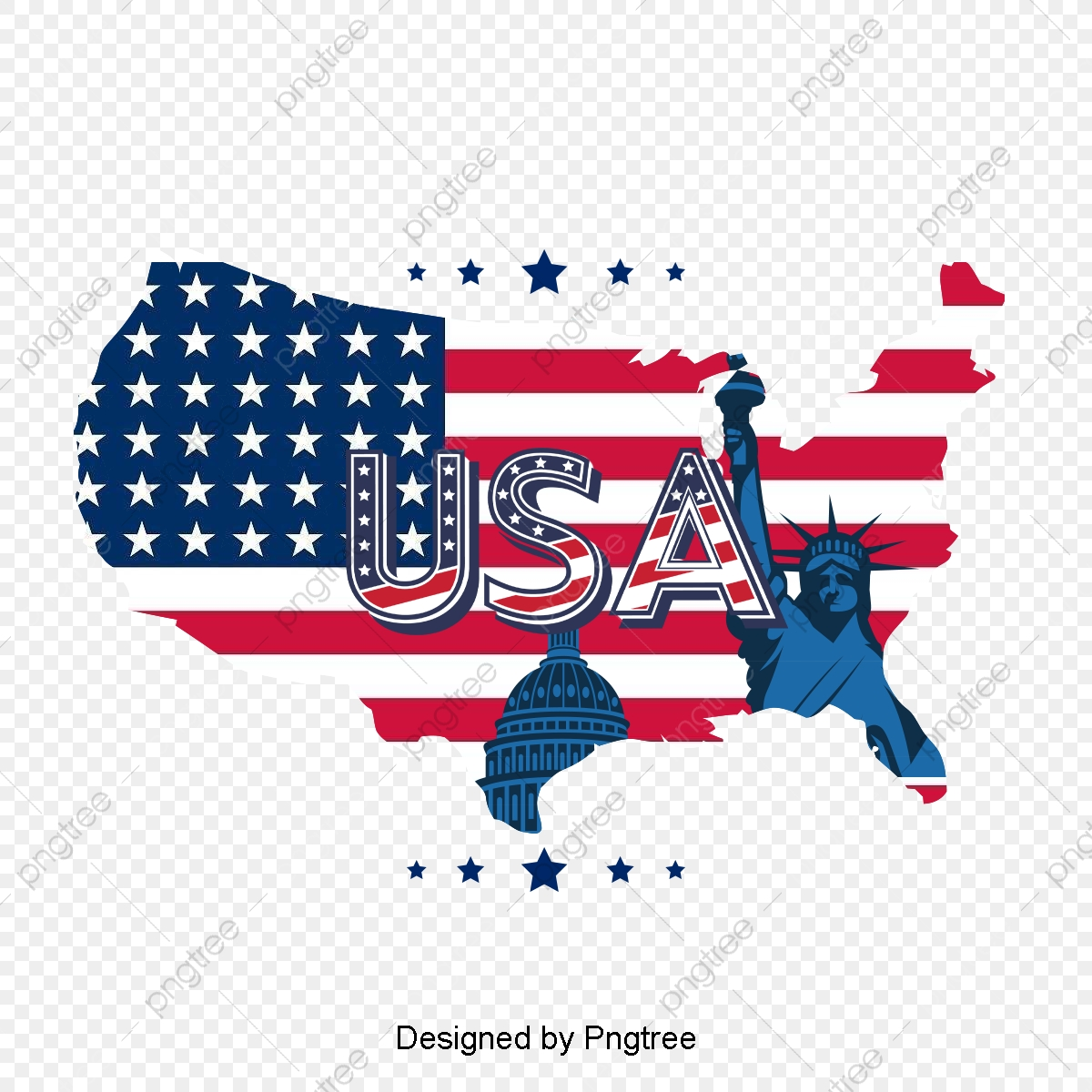 American Flag Map Flag Clipart Map Clipart United States Png - American-flag-us-map