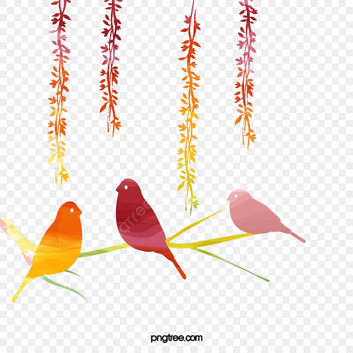 無料ダウンロードのための小鳥 手描き鳥 水彩鳥 枝png画像素材