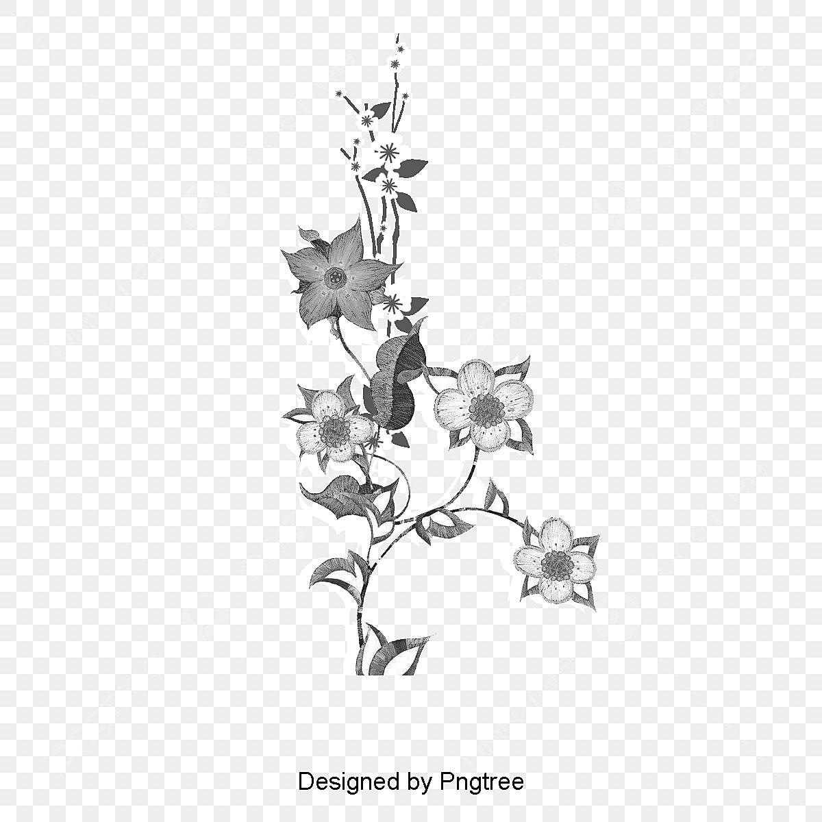 Fleur De Branches De Fond Noir Et Blanc Décoration Graphique