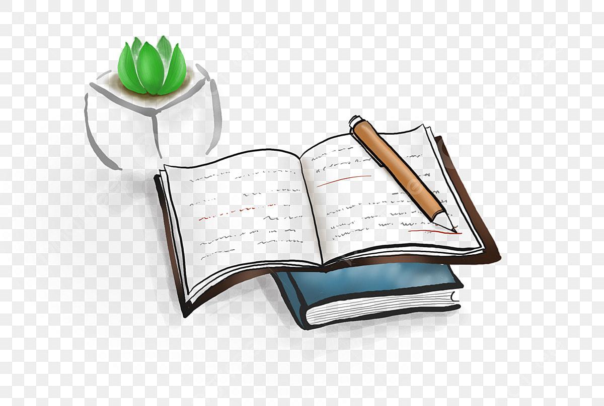 كتاب بجانب ريشة قلم حبر كتاب كتاب الكرتون رسمت باليد Png وملف Psd للتحميل مجانا