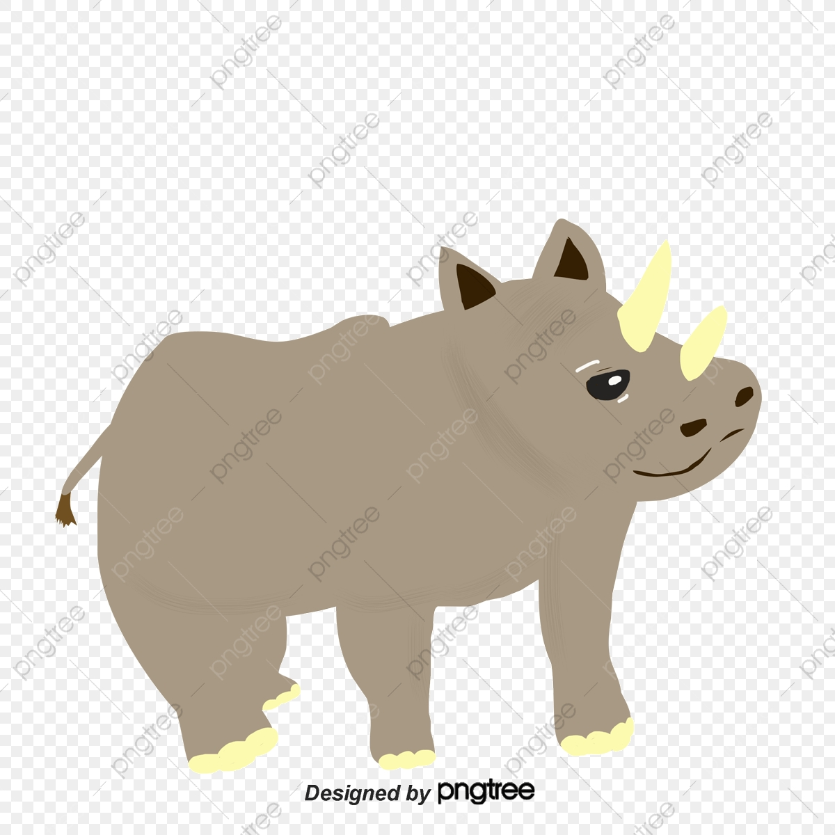 Bulky Hand Painted Cartoon Rhino, Cartoon Animals, Hand