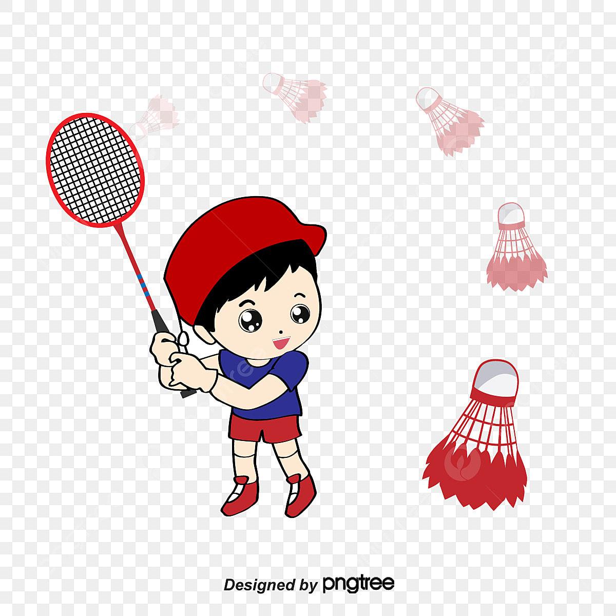 Kartun Pemain Badminton Badminton Atlet Permainan Fail