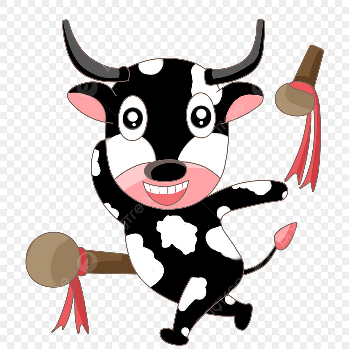 Gambar Kartun Lembu Warna Hitam Dan Putih Sapi Duduk Png Dan Psd Untuk Muat Turun Percuma