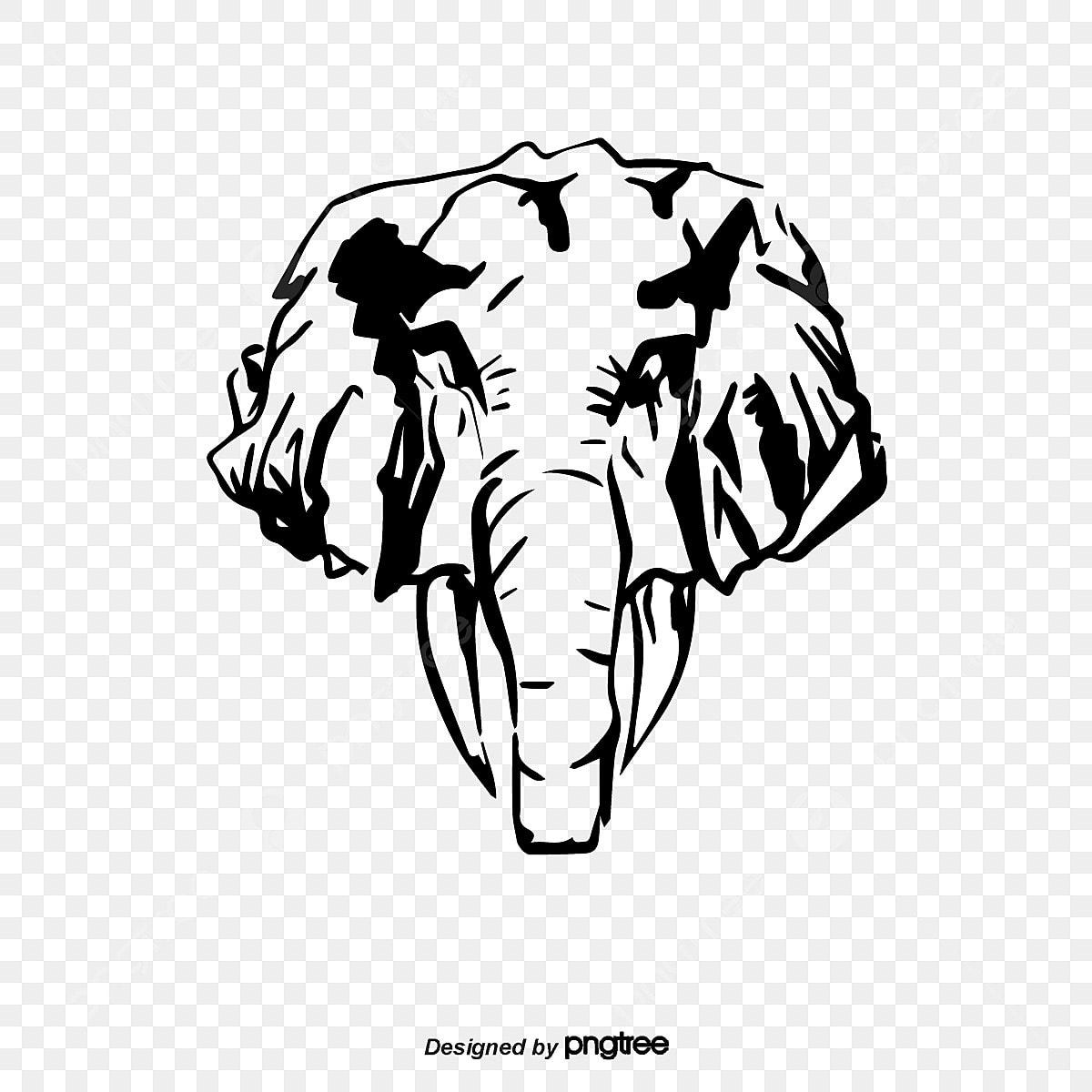 Cartoon Elephant Head Silhouette, Elephant Clipart, Head Clipart