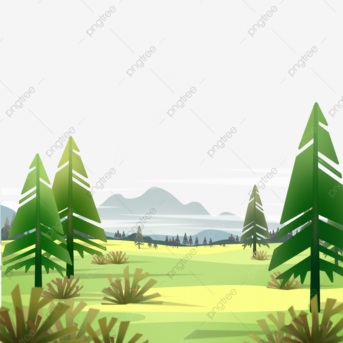 Cartoon Forest, Cartoon Clipart, Forest, Trees PNG