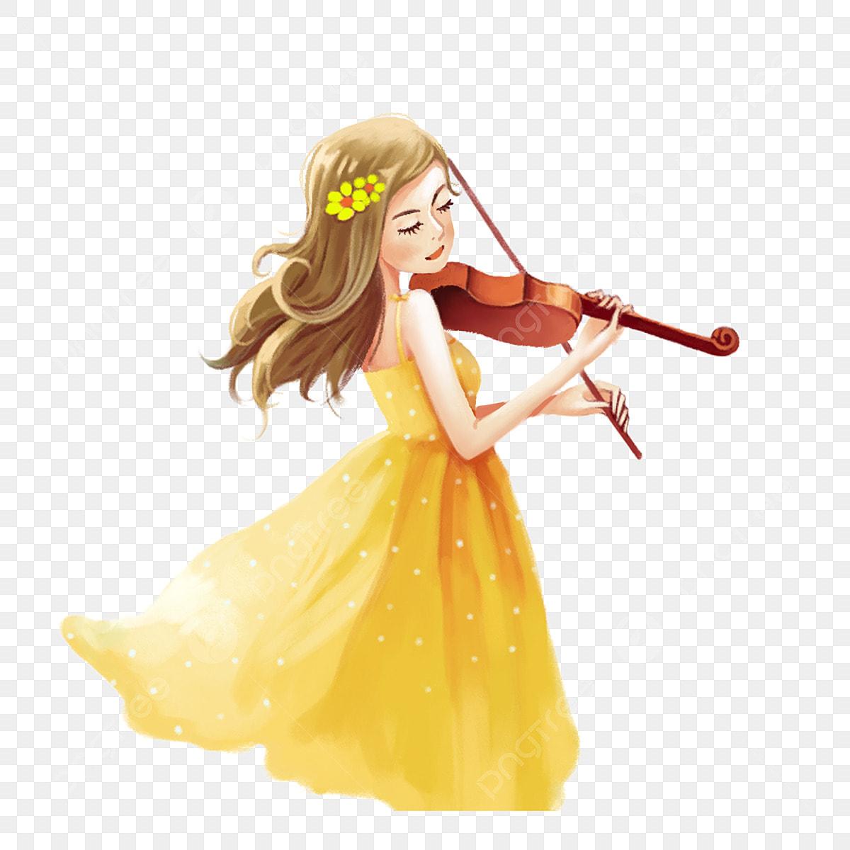 Cartoon Hand Painted Violin Girl, Cartoon Clipart, Violin