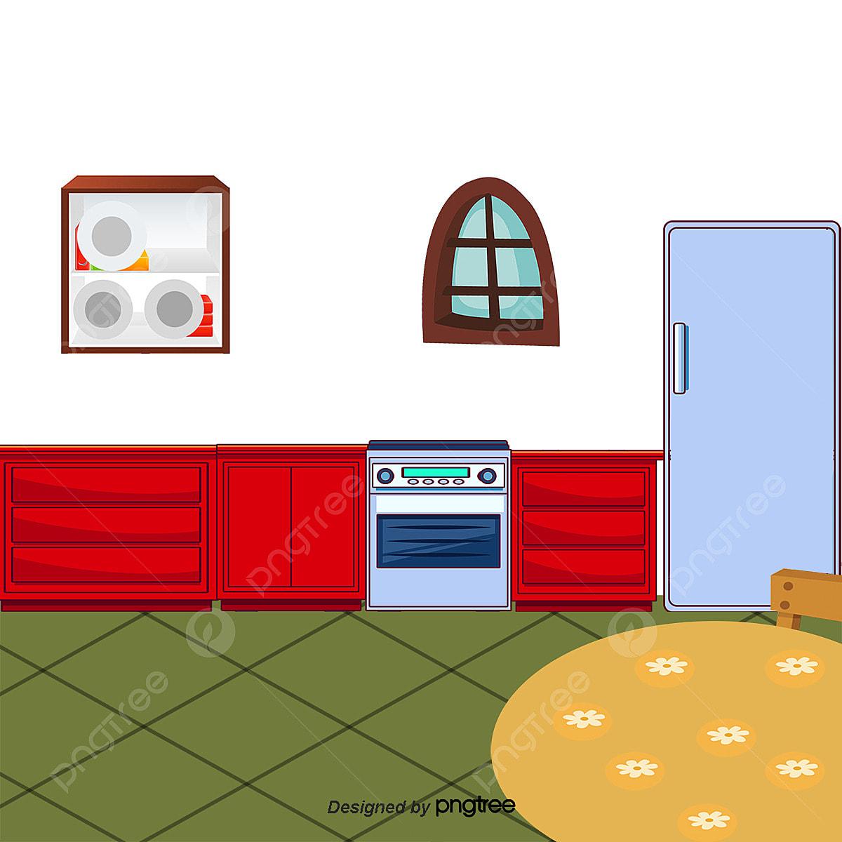Cocina De Dibujos Animados, Muebles De Cocina, Refrigerador, Armario ...