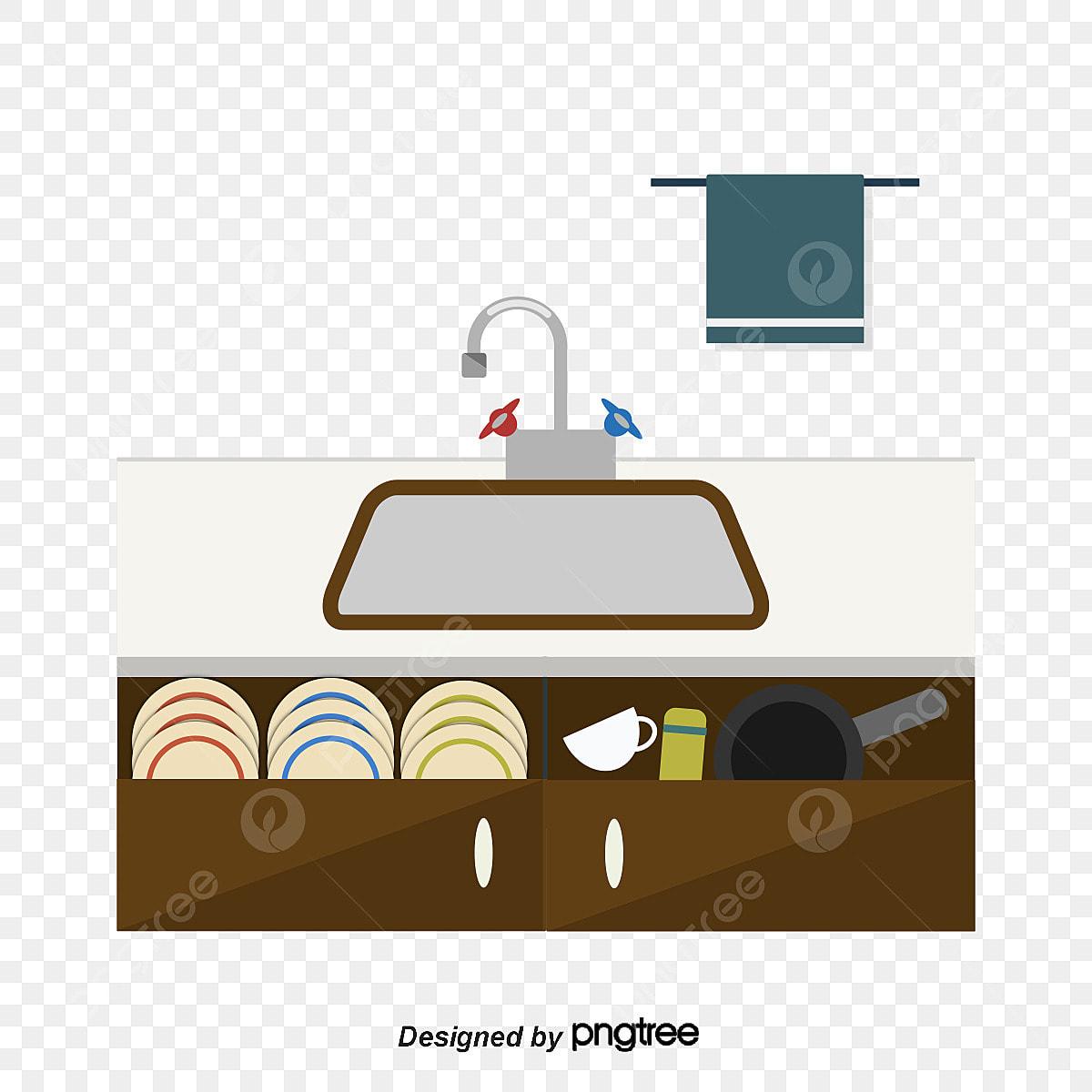Cartoon Kitchen Sink Scene Cartoon Vector Kitchen Vector