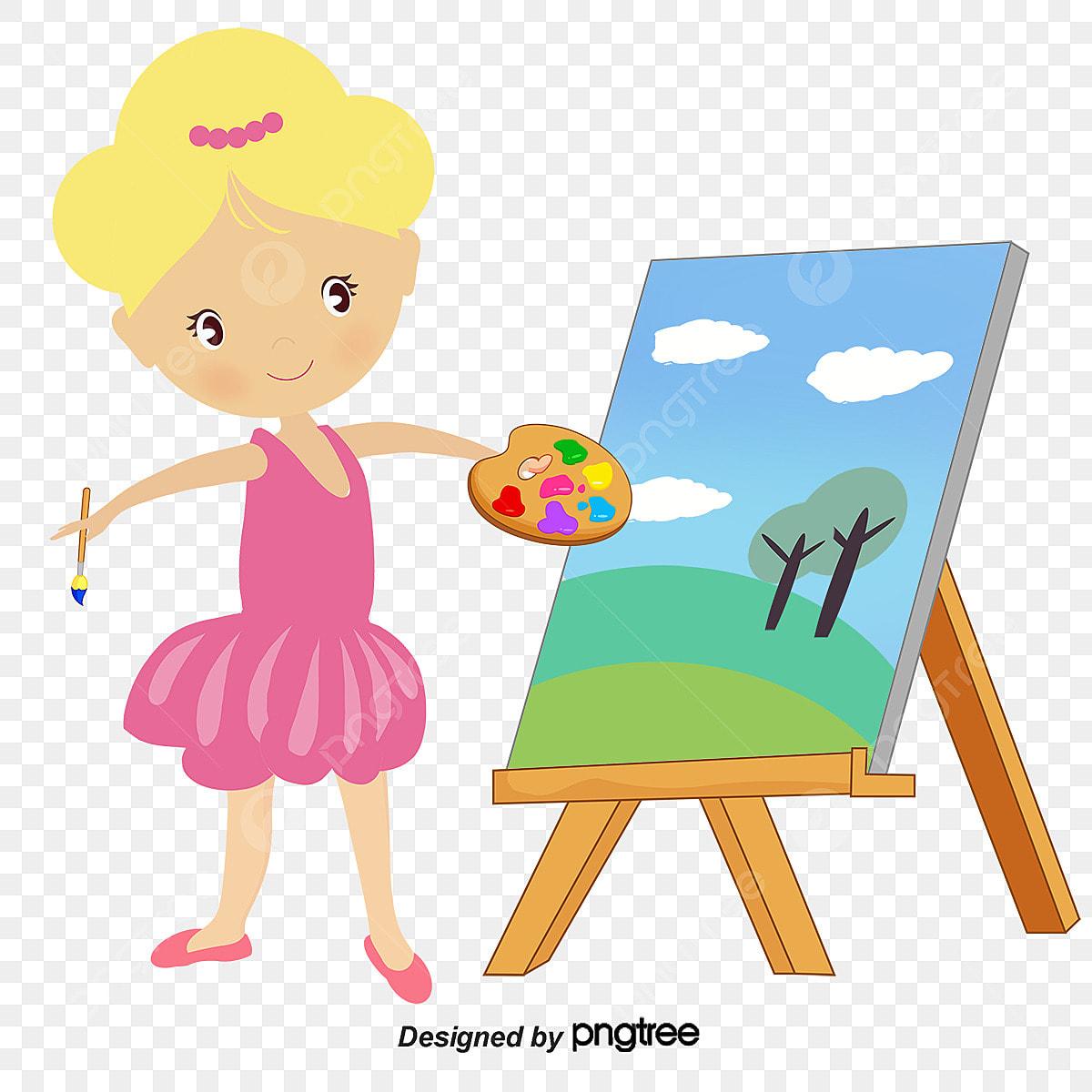 dessin de petit peintre fille peinture art png et vecteur