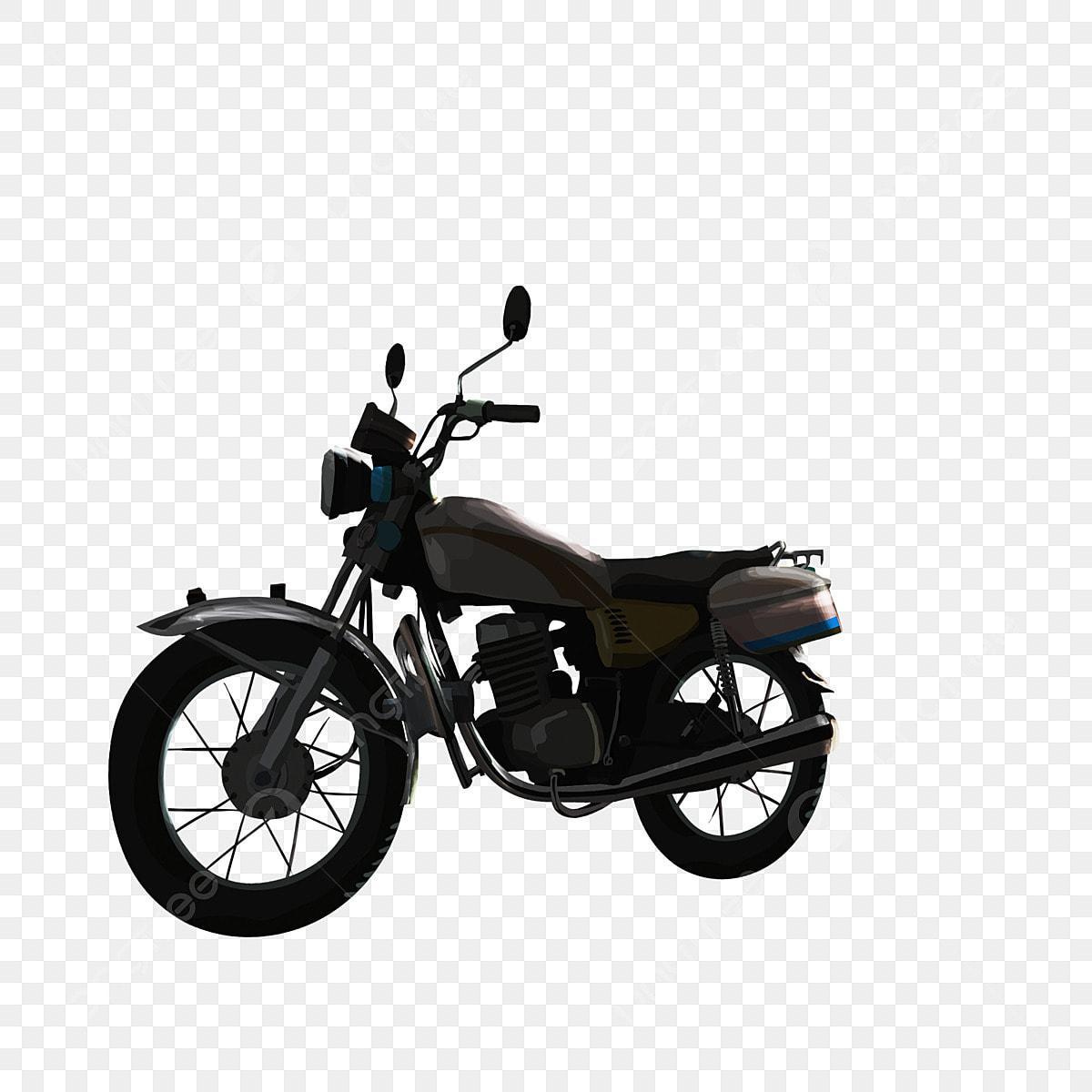 Cartoon Motorcycle Silhouette Figures Painted In Black Cartoon