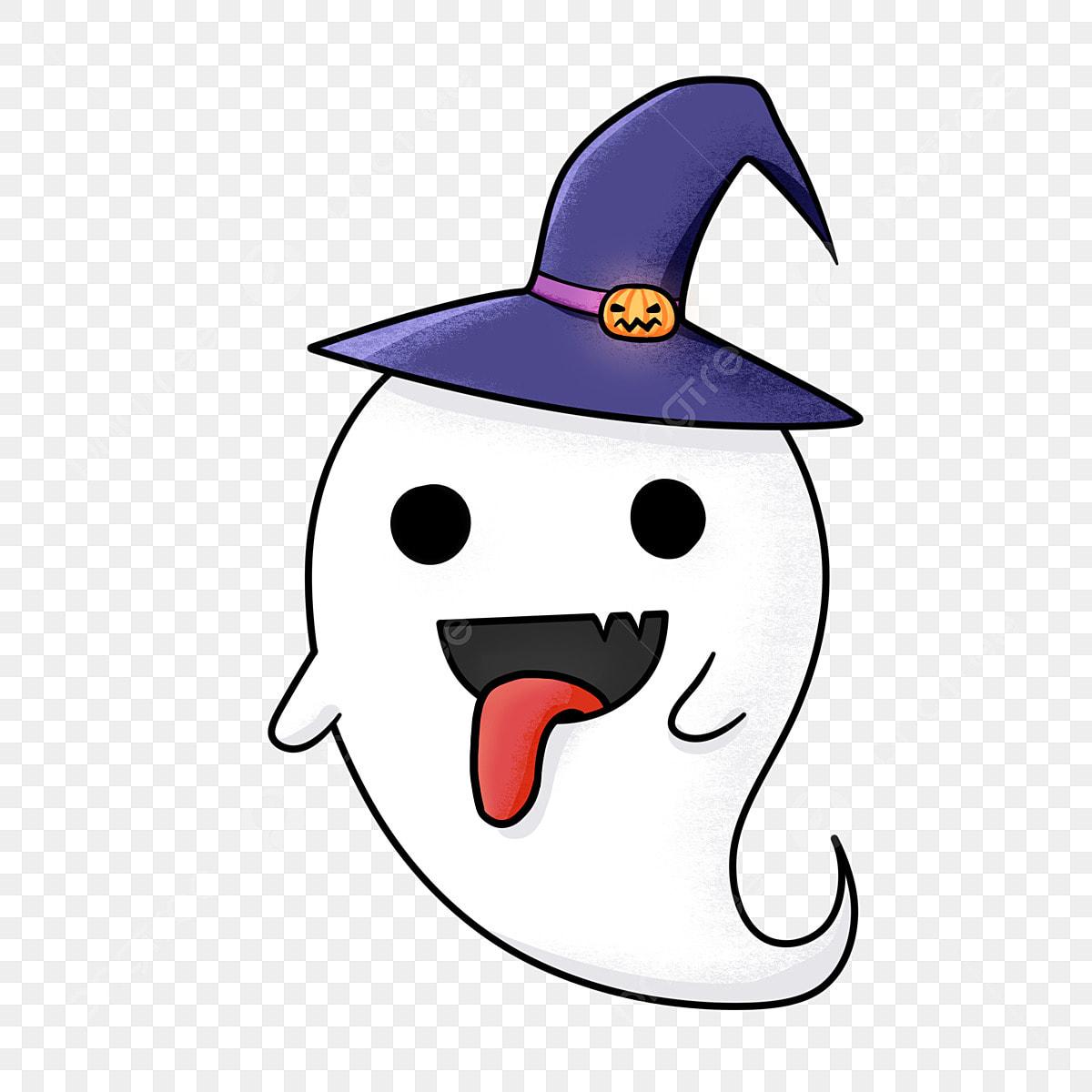 Desenhos Animados De Halloween Fantasma Pintado A Mao Com A Lingua
