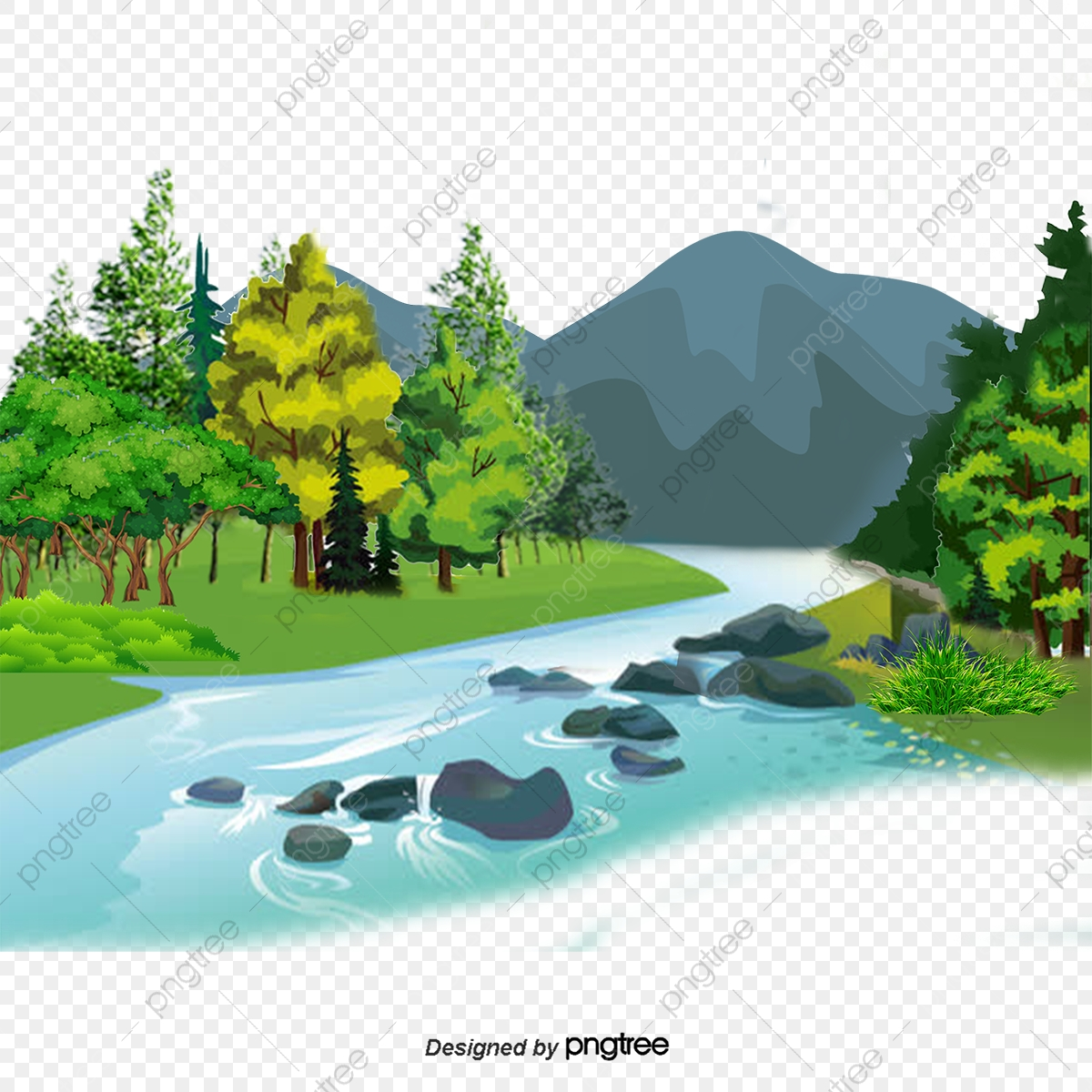 4000 Gambar Pemandangan Sungai Kartun Gratis Terbaik