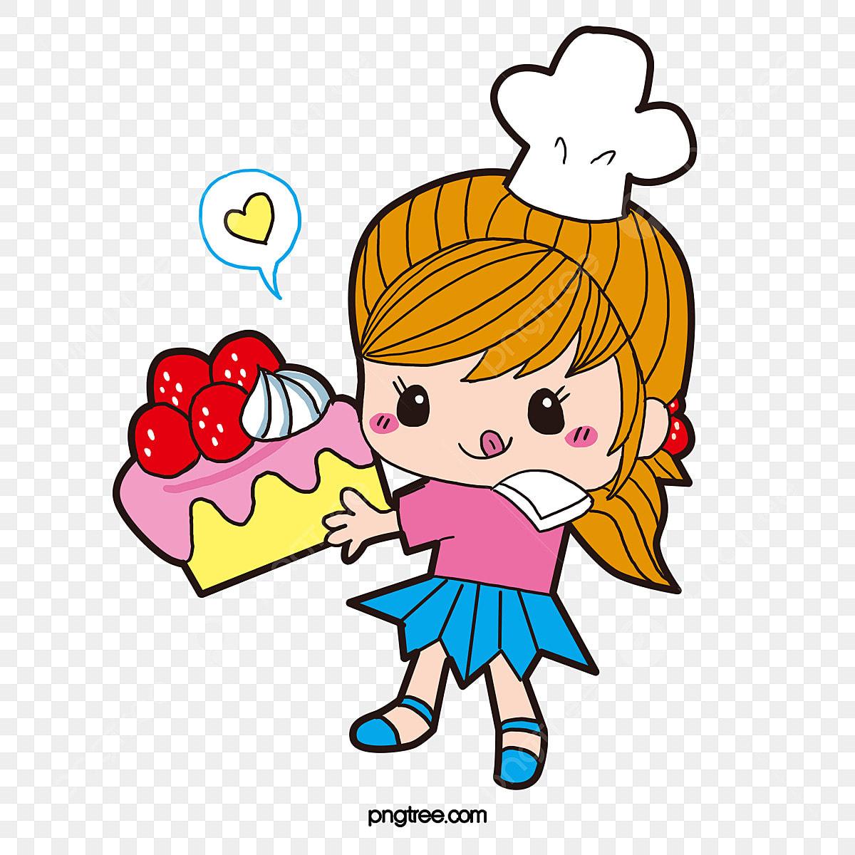無料ダウンロードのための料理人の女の子 手描き カラー ケーキpng画像素材