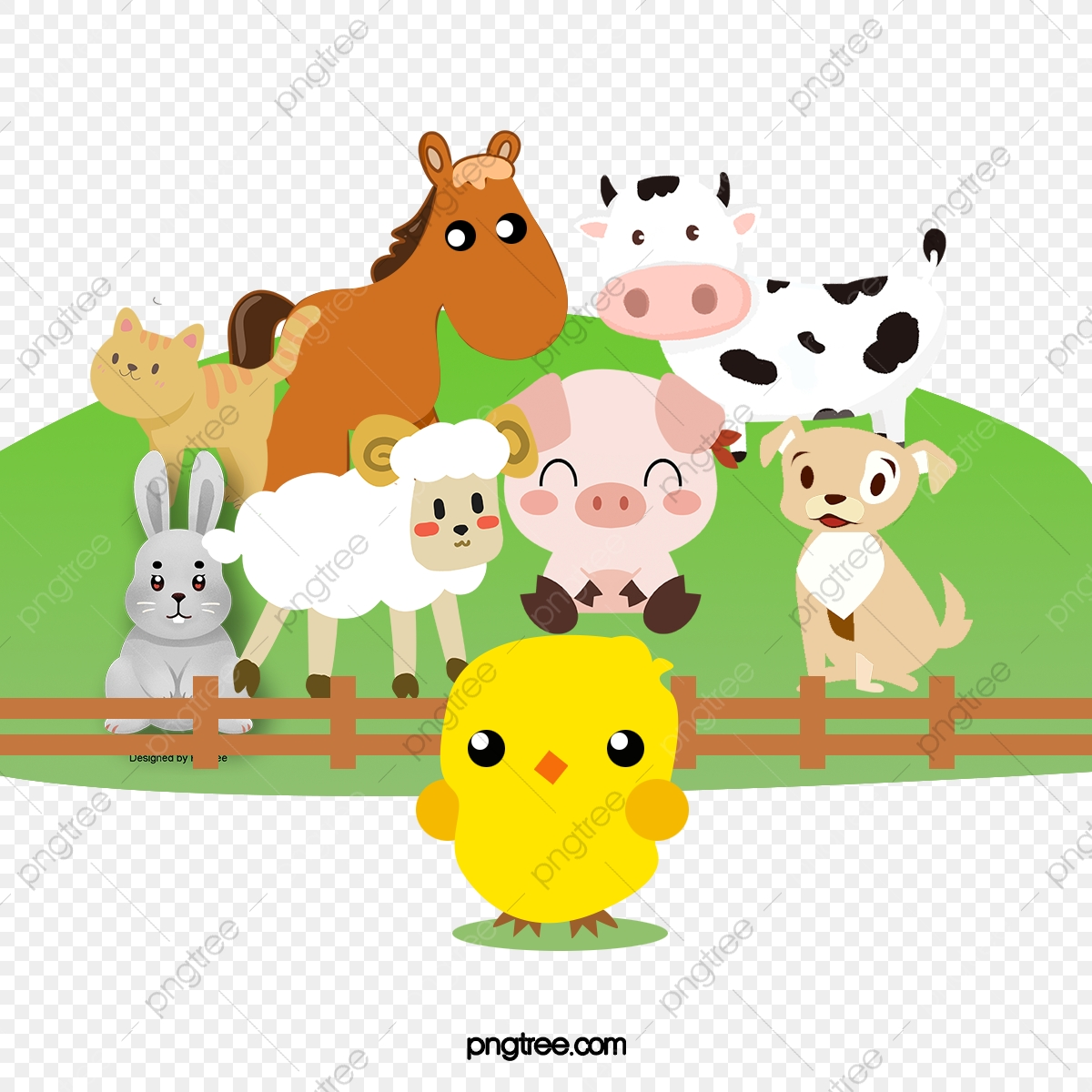 無料ダウンロードのための農場小動物 漫画 可愛い 児童イラストpng画像素材