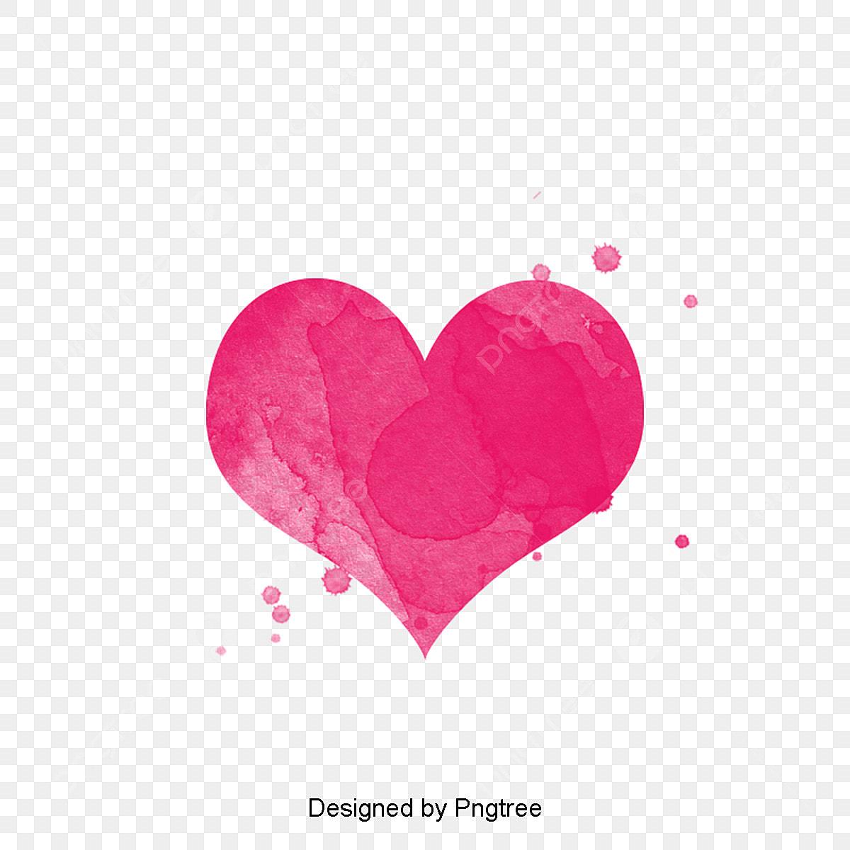 水彩手描きハート素材図 ハート型 ピンク水彩画 手描き画像とpsd