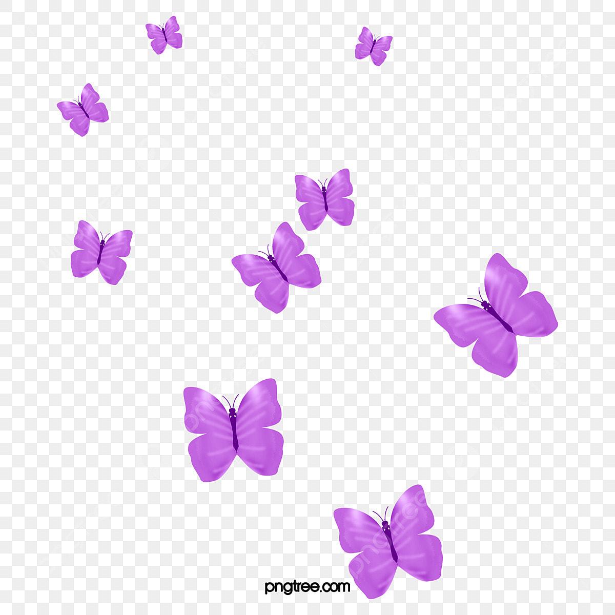 أسراب من الفراشات الأرجواني فراشة في مجموعات أرجواني Png وملف Psd للتحميل مجانا