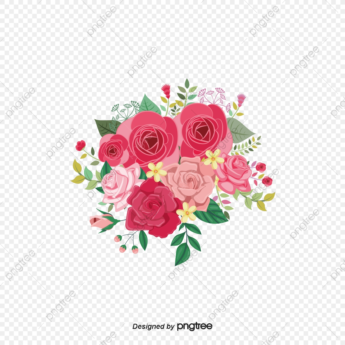 Bunga Gambar Hiasan Vektor Bunga Ilustrasi Corak Bunga Unsur Unsur
