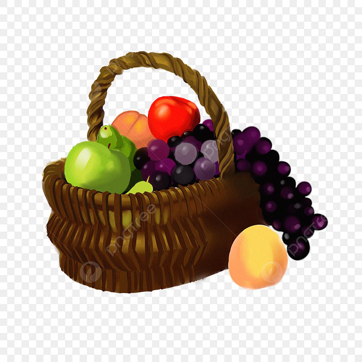Клипарт корзина с фруктами, для Фотошоп в PSD и PNG, без фона ... | 1200x1200