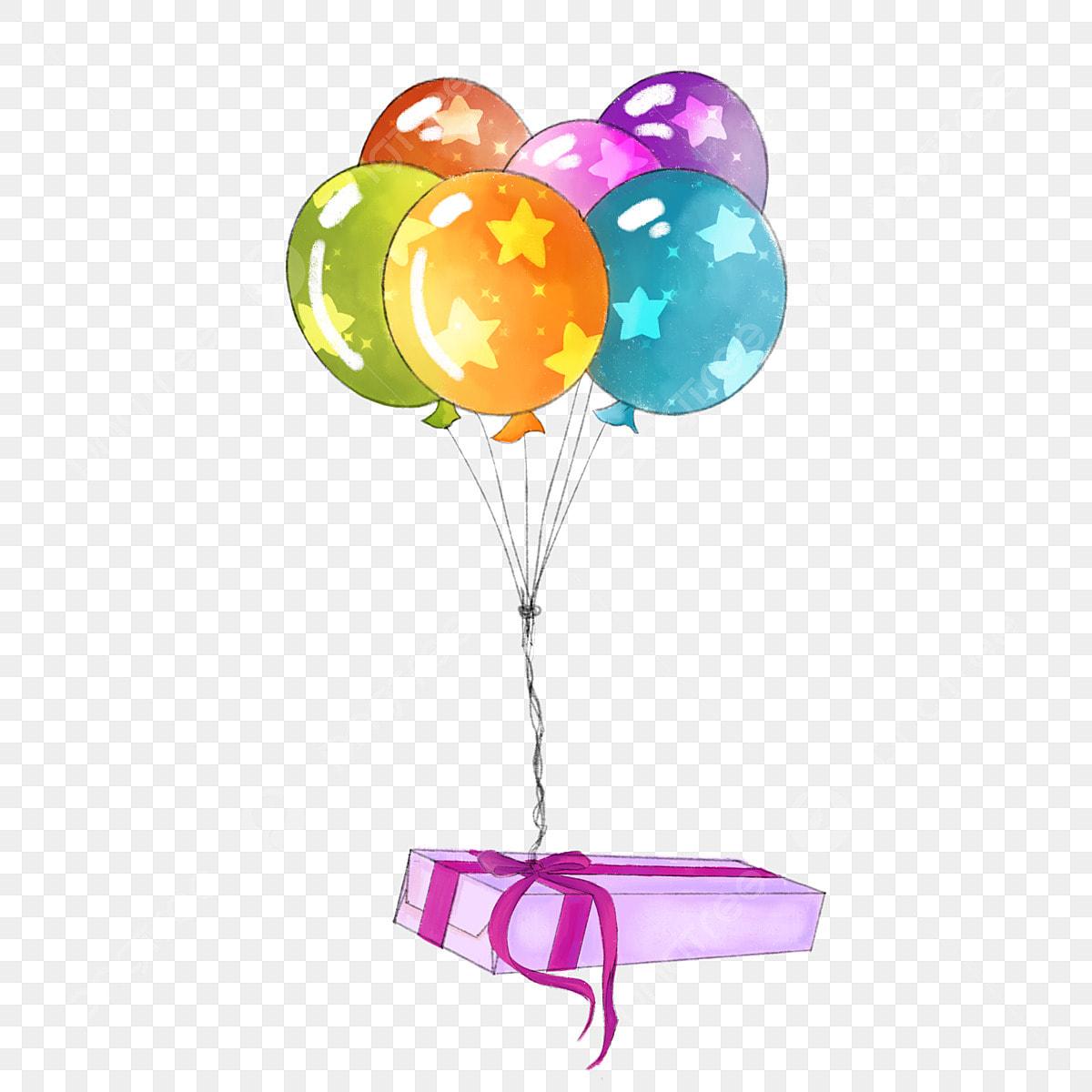 caja de regalo globos bordes decorativos elementos de