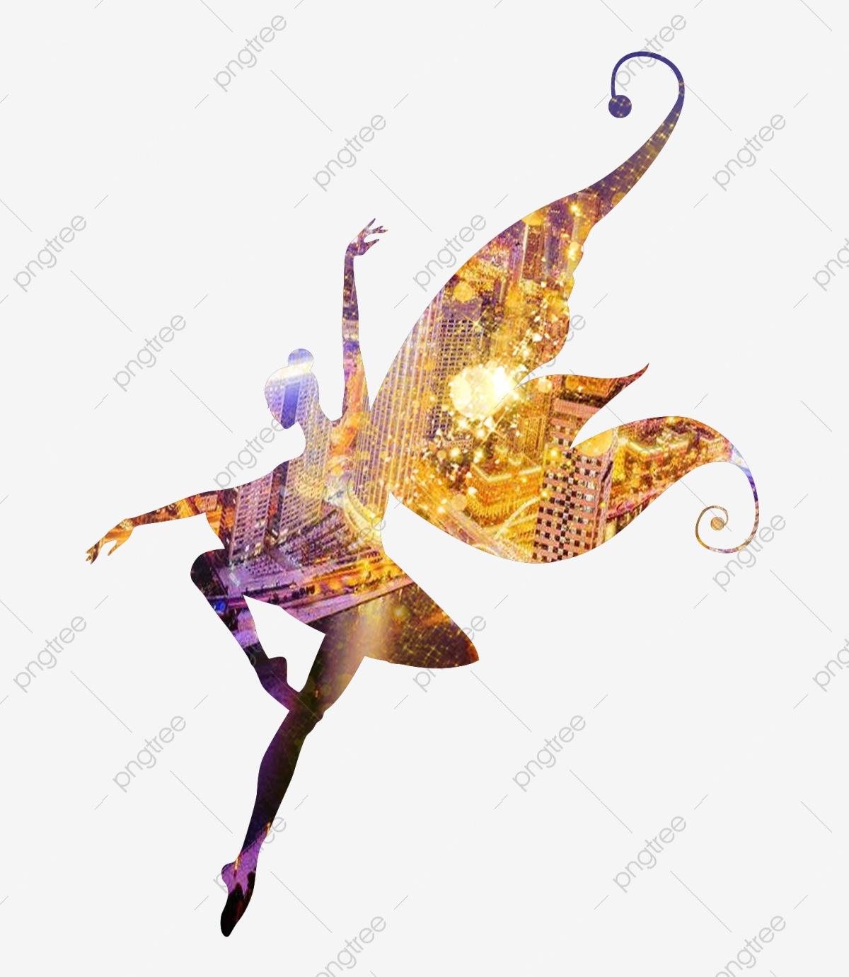Girl dancing. Silhouette clipart