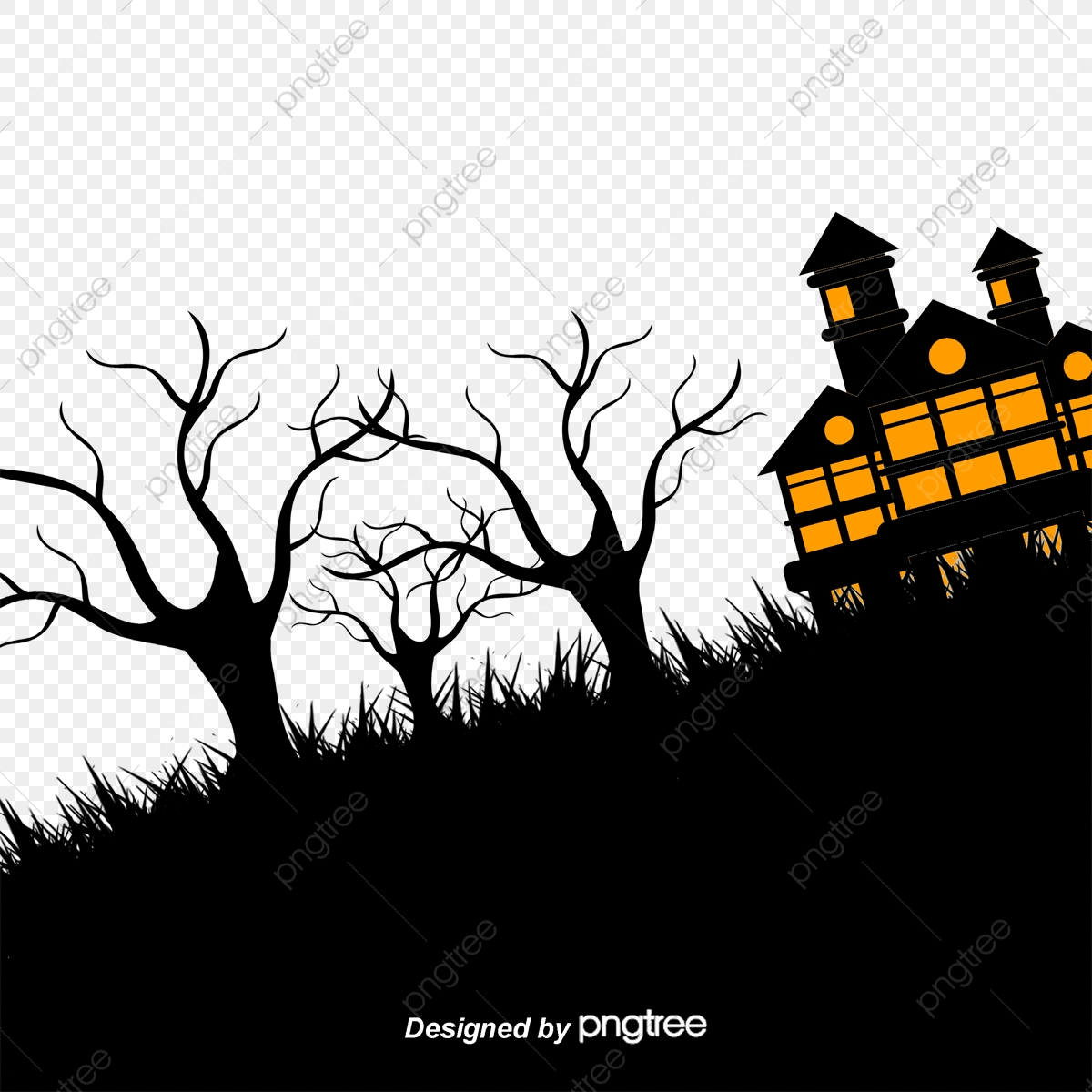 Halloween Vector Black And White.Halloween Black Mountain House Halloween Vector Mountain Png And