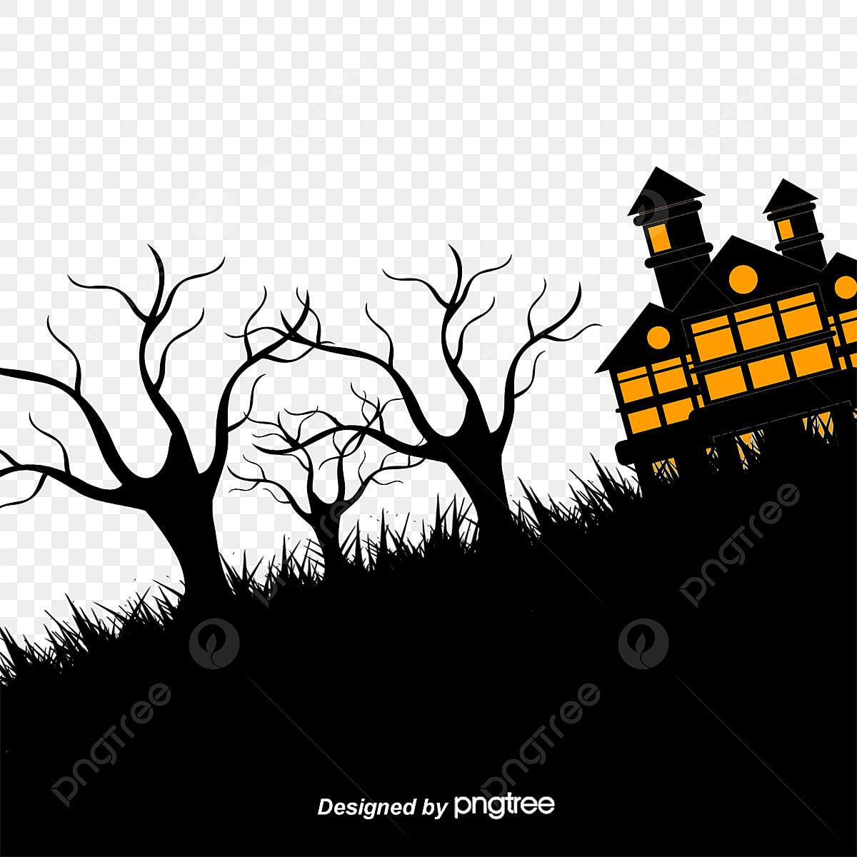 Halloween Vector Black And White.Halloween Black Mountain House Halloween Vector Mountain Png And